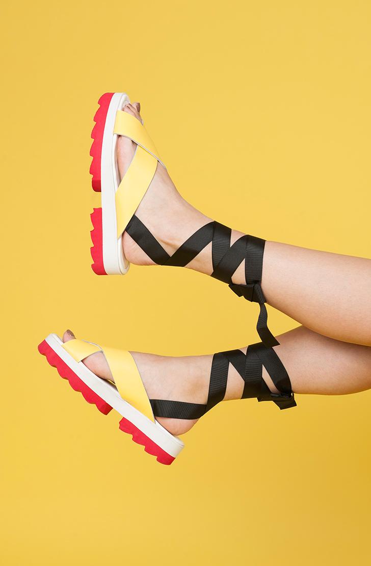 Sandale dama din piele naturala  Anne Galben