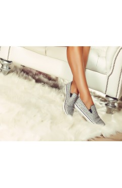 Sneakers dama din piele naturala Isa Gri