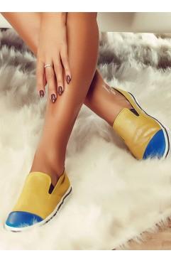 Sneakers dama din piele naturala  Lucy Ocru
