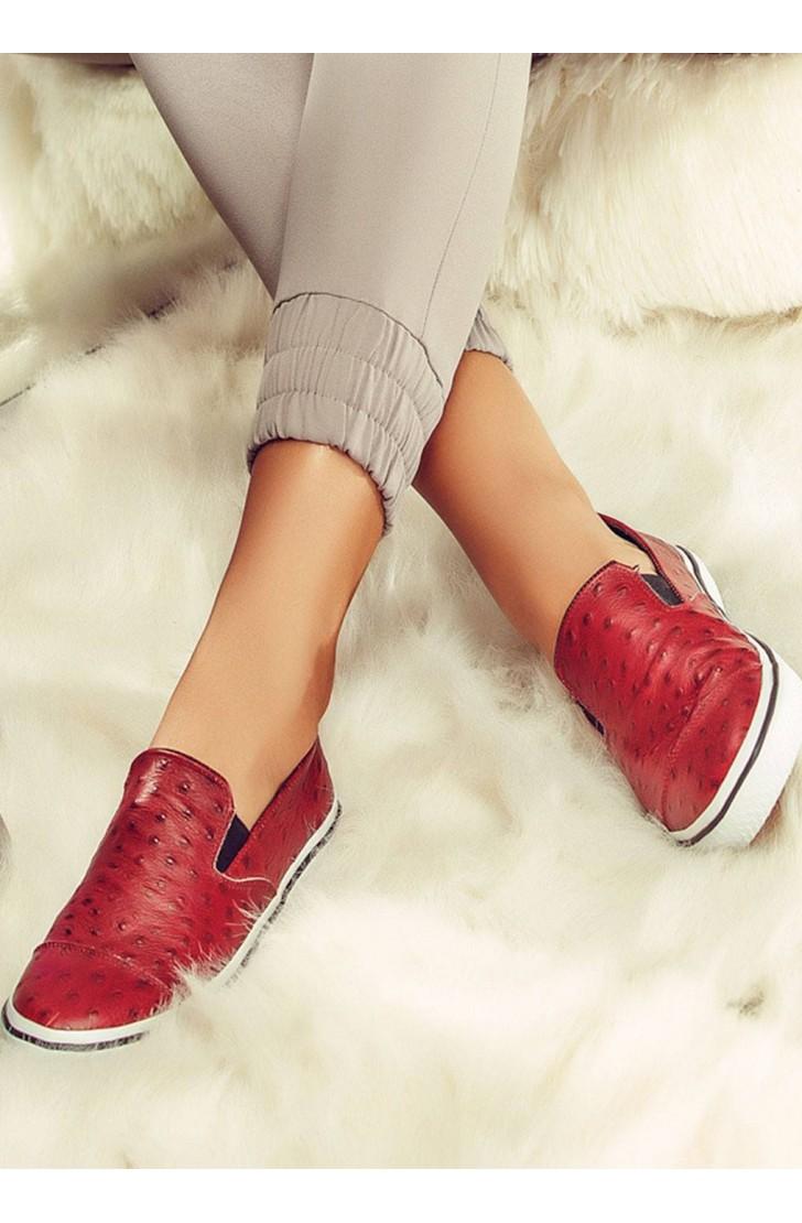 Sneakers dama din piele naturala  Isa Bordo