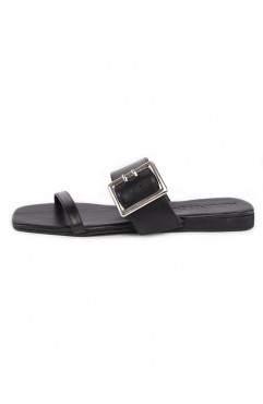 Papuci dama din piele naturala negri IBIZA Carbon Black