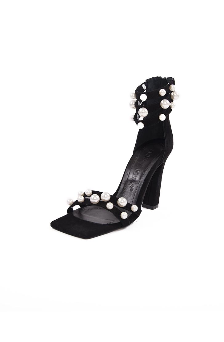 Sandale dama din piele naturala neagra BLACK PEARL