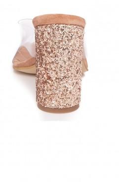 Saboti dama din piele naturala cu toc glitter  INVISIHEELS SPARK
