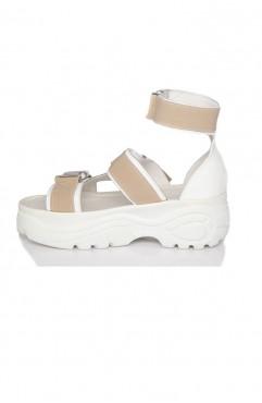 Sandale dama din piele naturala albe MYKONOS RIDE