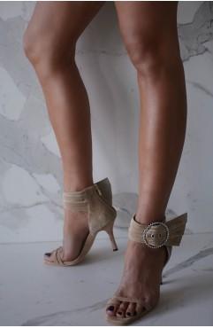 Sandale dama din piele naturala nude cu toc MARTINI AND AN OLIVE