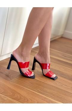 Saboti dama din piele naturala neagra COLORISTA RED