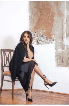Sandale dama din piele naturala cu toc Selene Midnight  Black