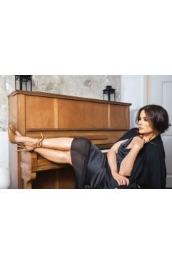 Sandale dama din piele naturala cu toc Selene Caramel