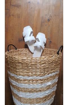 Papuci dama din piele naturala Corsica White