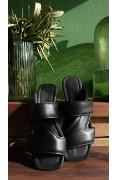 Papuci dama din piele naturala Corsica Black