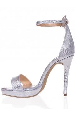 Sandale Adeline Croc Argintii Cu Platforma