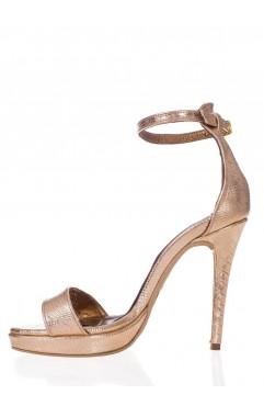 Adeline gold croc platform sandals
