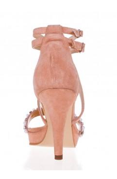 Sandale dama din piele naturala cu toc Adeline Pearl