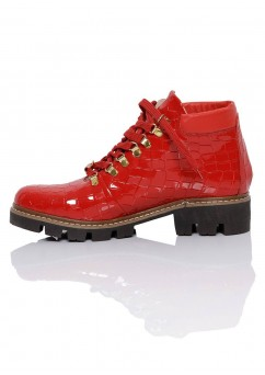 Red Flat Boots Daisy