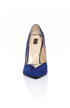 Pantofi dama din piele naturala cu toc Annora Albastri
