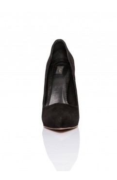Pantofi dama din piele naturala cu toc Zoe Negri