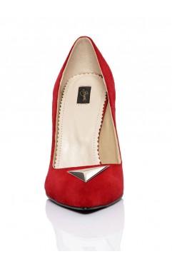 Pantofi dama din piele naturala cu toc Annora Rosii