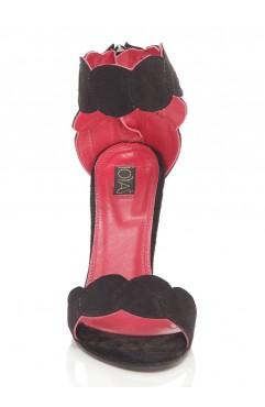 Sandale  dama din piele naturala cu toc Aubrielle Negre