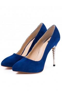 Pantofi dama din piele naturala cu toc  Zoe Albastri
