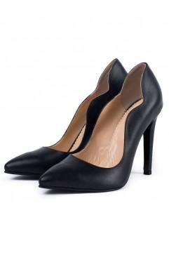 Pantofi dama din piele naturala cu toc Aria Negri