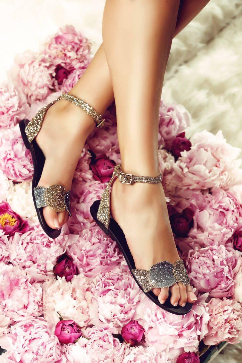 sandale elegante cu sclipici fara toc